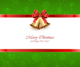 Green Christmas background with bells and red bow vector