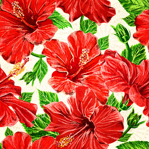 Green Leaves With Red Flowers Vector Seamless Pattern