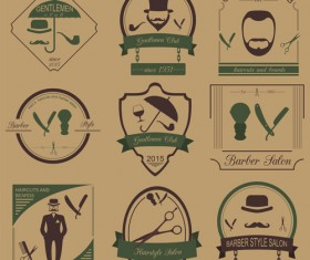 Haircuts and beards salon labels vector 01