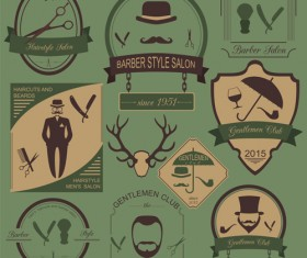 Haircuts and beards salon labels vector 03