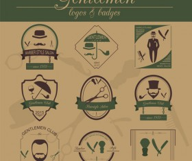 Haircuts and beards salon labels vector 05