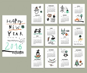 Hand drawn 2016 calendars creative vector
