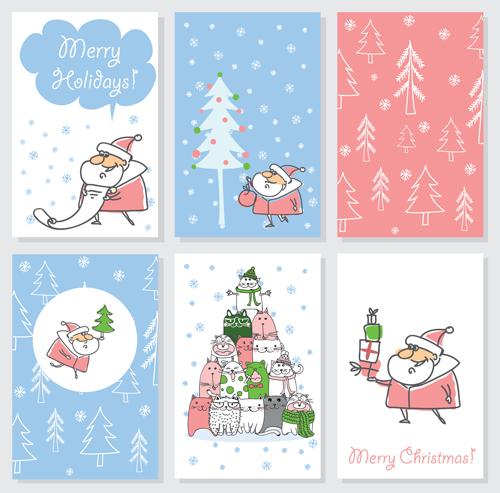 Hand drawn 2016 christmas cards vectors 04 vector card for Wildlife christmas cards 2016