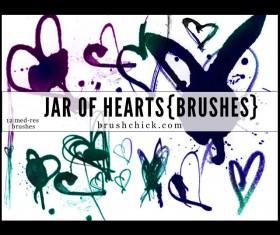 Hand drawn Hearts Brushes set
