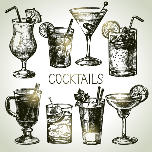 Hand drawn cocktail vector grphics - Vector Food free download