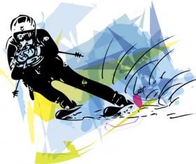 Hand drawn skiing sketch vector design 08