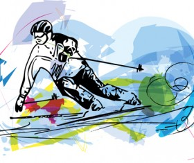 Hand drawn skiing sketch vector design 09