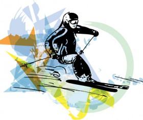 Hand drawn skiing sketch vector design 10