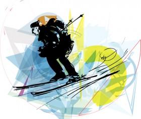 Hand drawn skiing sketch vector design 11