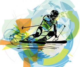 Hand drawn skiing sketch vector design 12