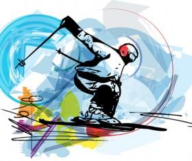 Hand drawn skiing sketch vector design 13