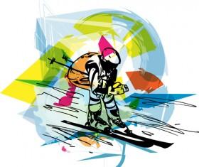 Hand drawn skiing sketch vector design 14