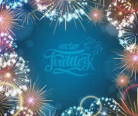 Holiday fireworks frame vector material 01