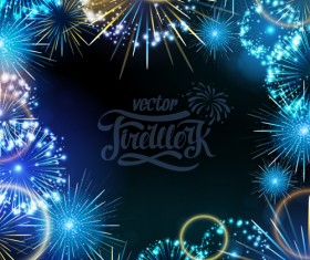 Holiday fireworks frame vector material 02