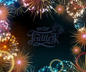 Holiday fireworks frame vector material 04