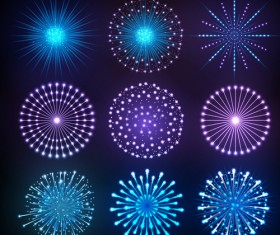 Holiday fireworks icons set vector