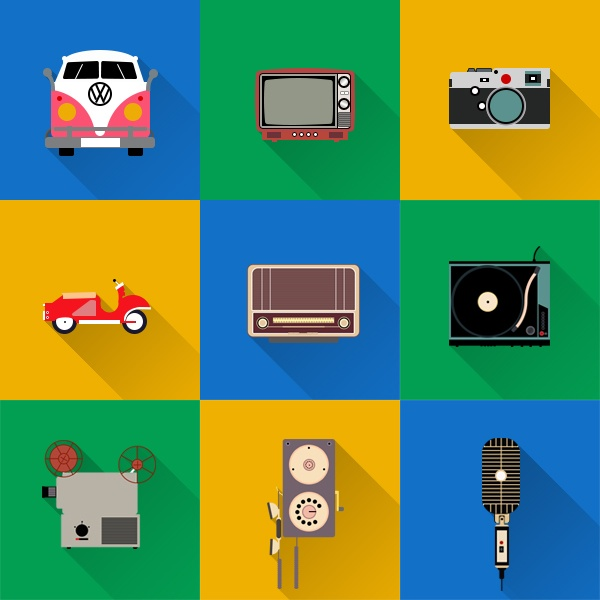 Home appliances with sound and camera flat icons