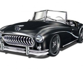 Luxury retro car vector illustration 03