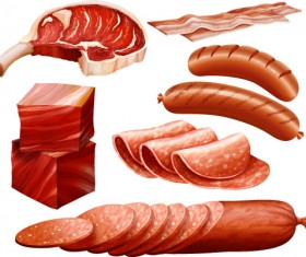 Meats with bacon and sausages vector