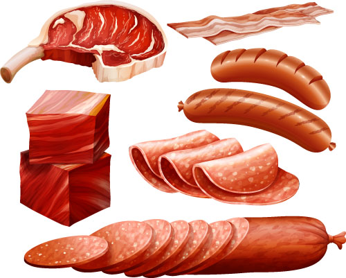 Meats With Bacon And Sausages Vector Vector Food Free