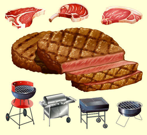 Meats with barbecue vector material