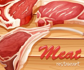 Meats with wood board vector