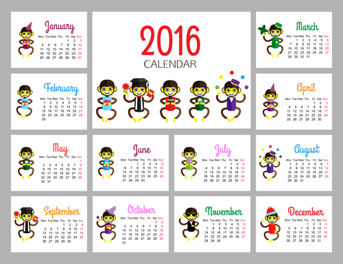 Monkey 2016 calendars creative vector 01