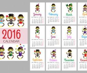 Monkey 2016 calendars creative vector 02