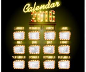 Neon calendars 2016 creative vector