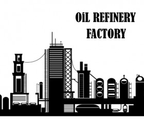 Oil refinery factory silhouetters vector