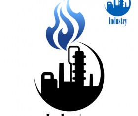 Oil refinery industry logo vector 01