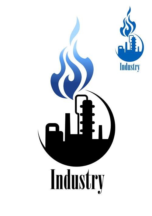 Oil refinery industry logo vector 01