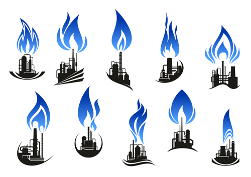 Oil refinery industry logo vector 02