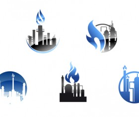 Oil refinery industry logo vector 03