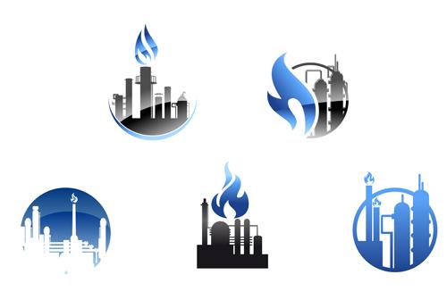 Oil refinery industry logo vector 03