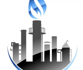 Oil refinery industry logo vector 04