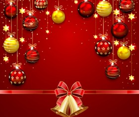 Ornate christmas balls with bow bell vector