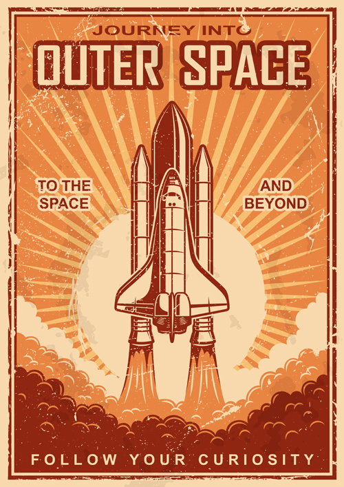 Outer space poster vintage vector 01 vector cover free for Outer space poster design