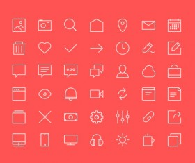 Outlines system icons psd material