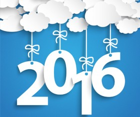 Paper cloud with 2016 new year vectors