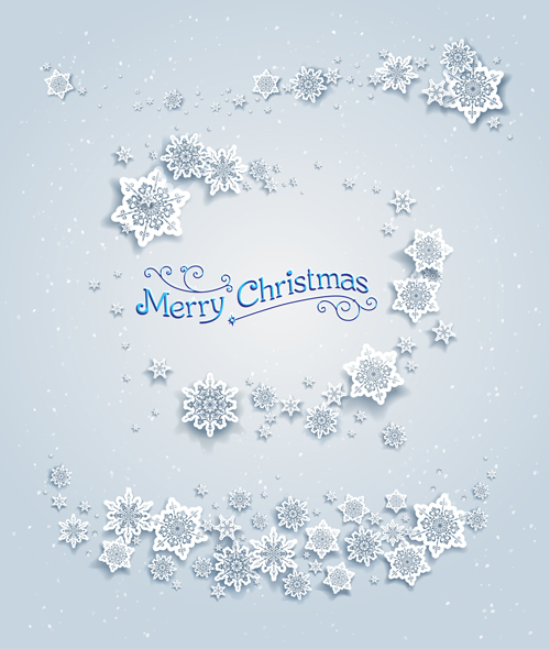 Paper Snowflake With White Christmas Cards Vector 04