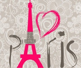 Paris design elements vectors set 01