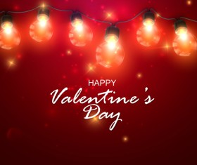 Red Valentine background with light bulb vector 01