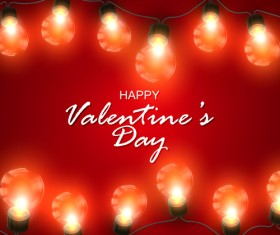 Red Valentine background with light bulb vector 02