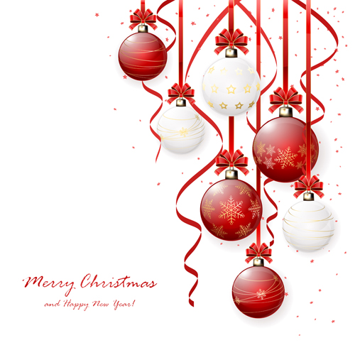 Red And White Christmas Balls Design Vector Material 01 Free Download
