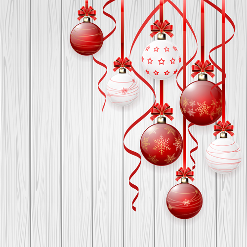 Red And White Christmas Balls Design Vector Material 02