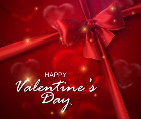 Red bow with Valentine card vector 02