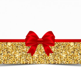 Red bow with gold luxury background vectors 01