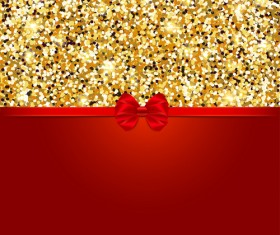 Red bow with gold luxury background vectors 02