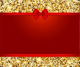 Red bow with gold luxury background vectors 03